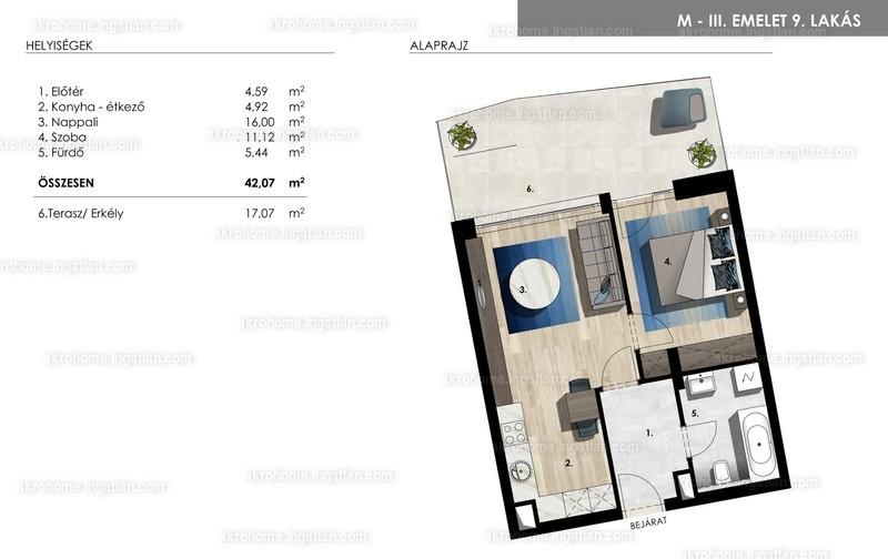 Mistral Residence - 2 szoba erkéllyel