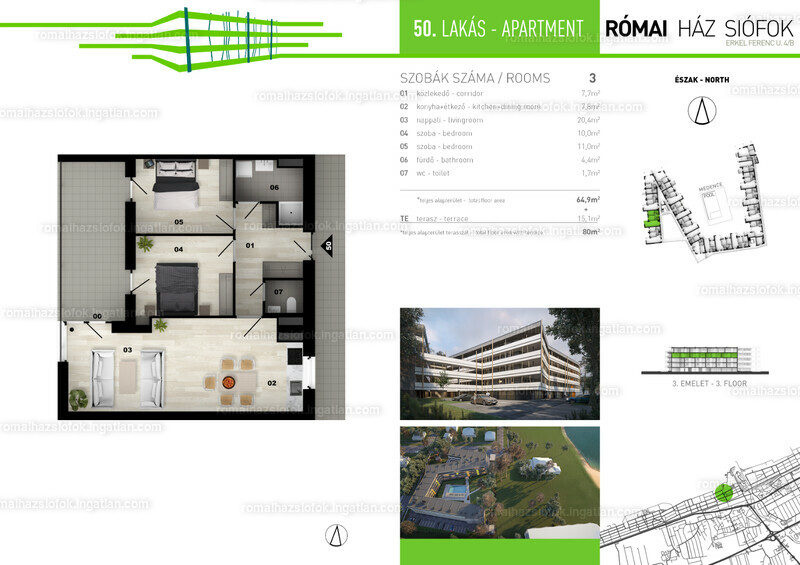 Római Ház Siófok - 3 szoba erkéllyel