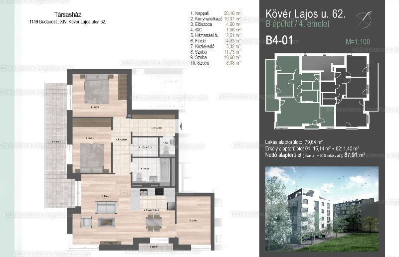 K62 Residence Zugló - 4 szoba erkéllyel