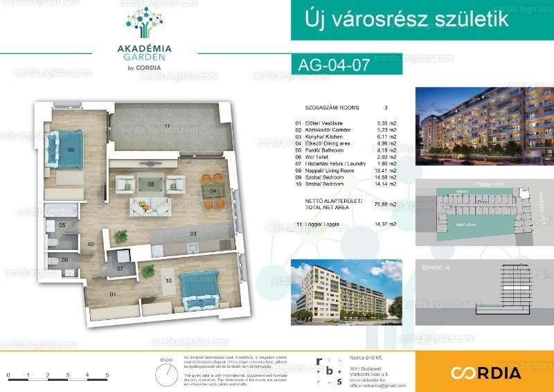 Akadémia Garden by Cordia - 3 szoba erkéllyel