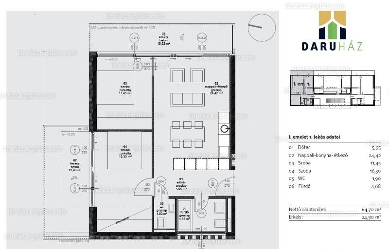 DARUHÁZ - 3 szoba erkéllyel
