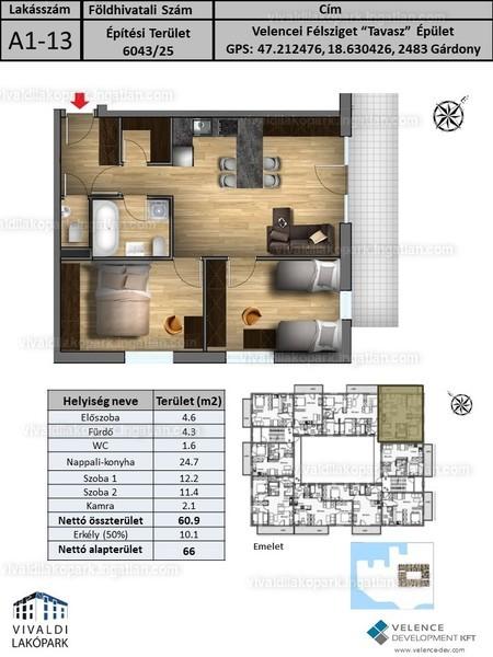 Vivaldi Lakópark - 3 szoba erkéllyel