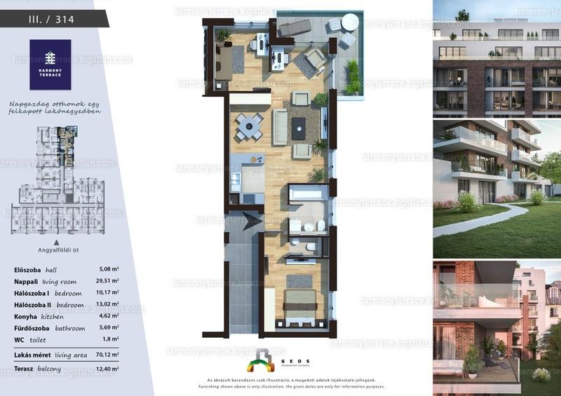 Harmony Terrace - 3 szoba erkéllyel