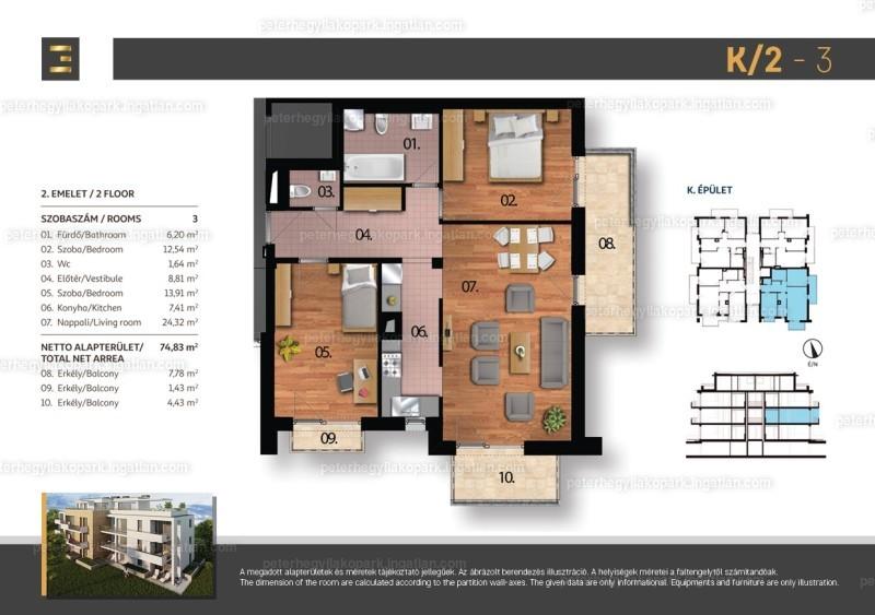 Péterhegyi Lakópark - 3 szoba erkéllyel
