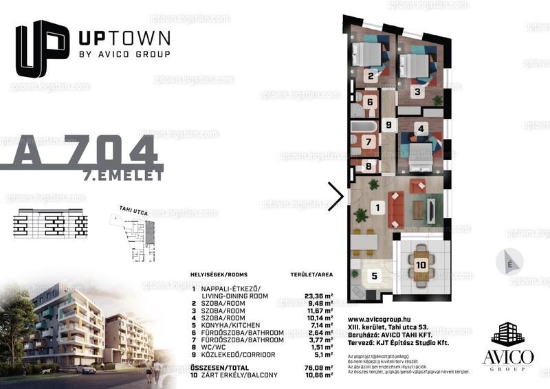 UpTown - 4 szoba erkéllyel