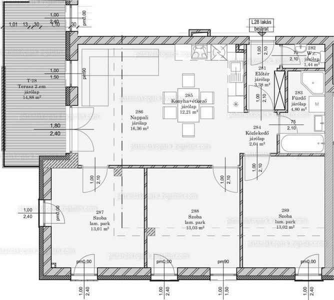 Platán Lakópark - 4 szoba erkéllyel