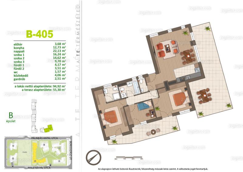 Sasad Liget VI. ütem - 4 szoba erkéllyel