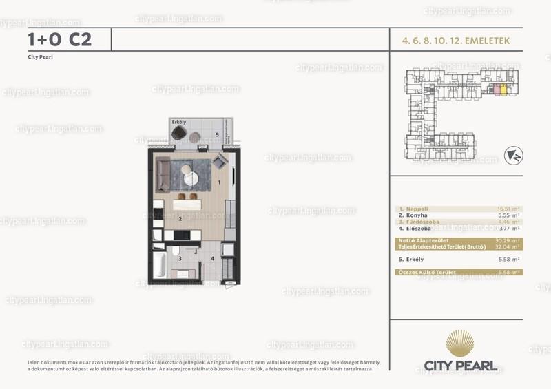 City Pearl Budapest - 1 szoba erkéllyel