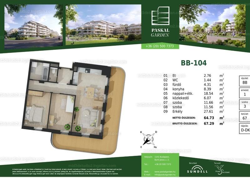 Paskal Garden B ütem - 3 szoba erkéllyel