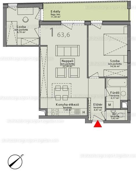 Márton 14A ÖkoHáz - 3 szoba erkéllyel
