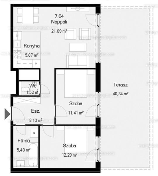 West Green Home - 3 szoba erkéllyel