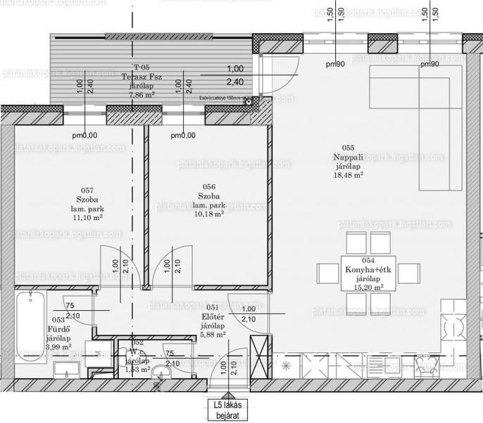 Platán Lakópark - 3 szoba kertkapcsolattal
