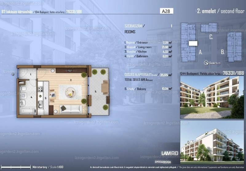 Izzó Garden 2 - 1 szoba erkéllyel