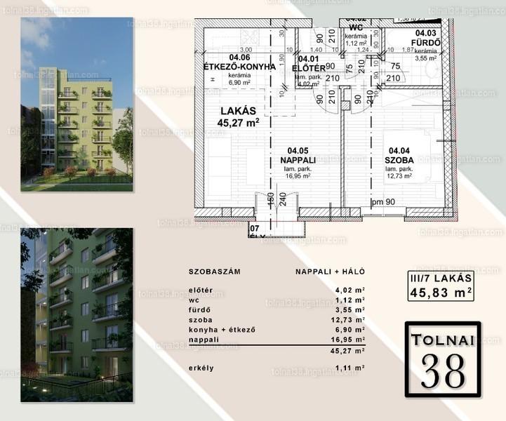 Tolnai 38 - 2 szoba erkéllyel