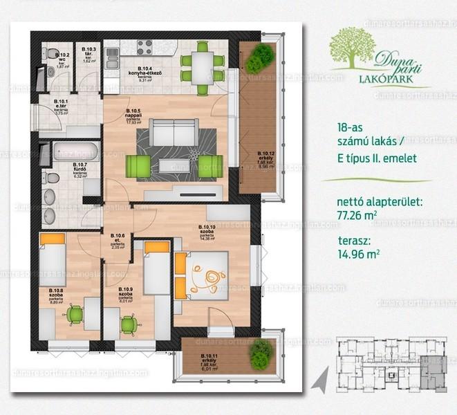 Duna Resort Társasház - 2 + 2 szoba erkéllyel