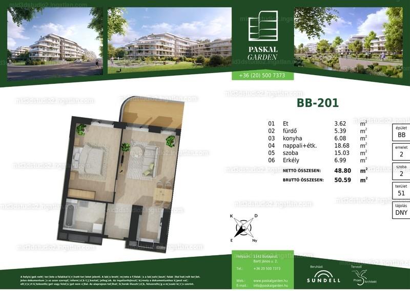 Paskal Garden B ütem - 2 szoba erkéllyel