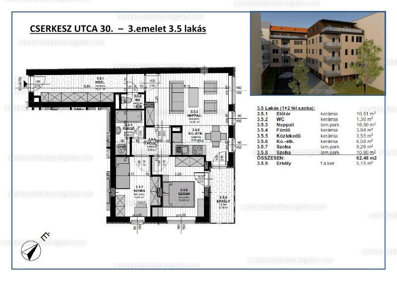 Cserkesz Lakóház - 1 + 2 szoba erkéllyel