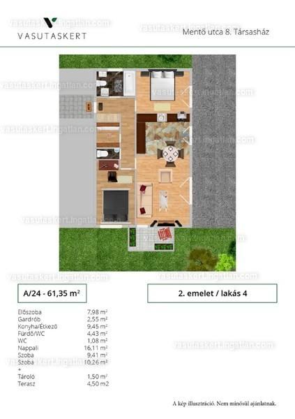 Vasutaskert - 3 szoba erkéllyel