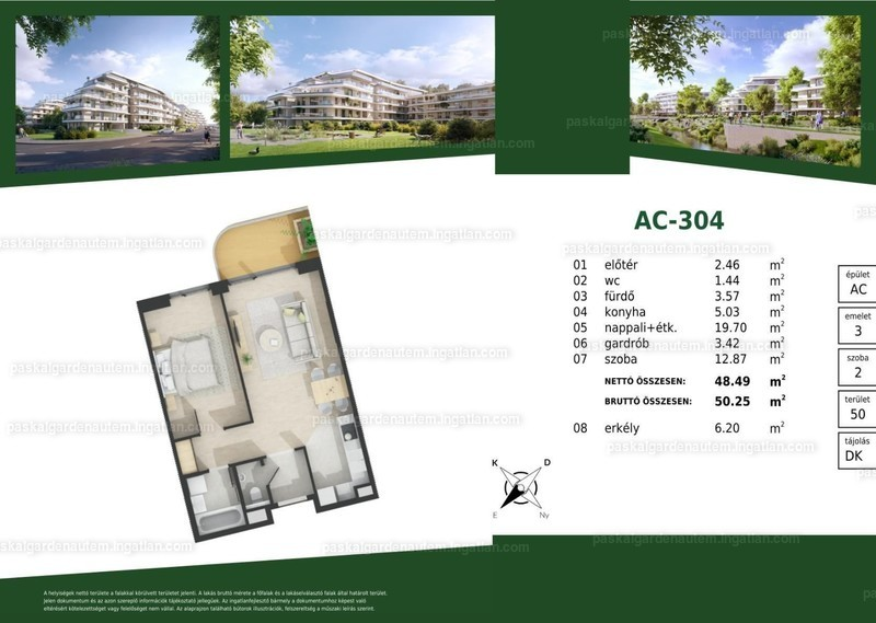 Paskal Garden A.ütem - 2 szoba erkéllyel