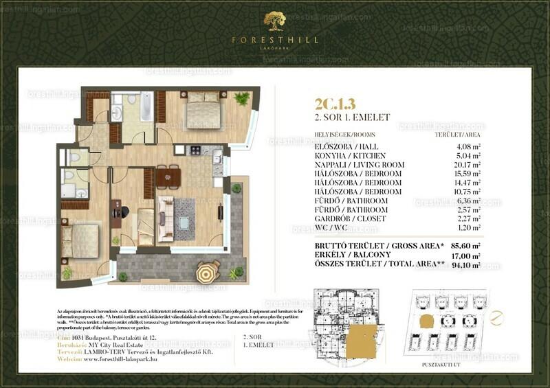 Forest Hill - 3 + 1 szoba erkéllyel