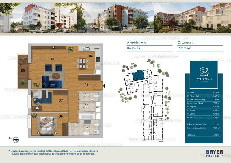 Zöldmező Lakópark - 3 szoba erkéllyel