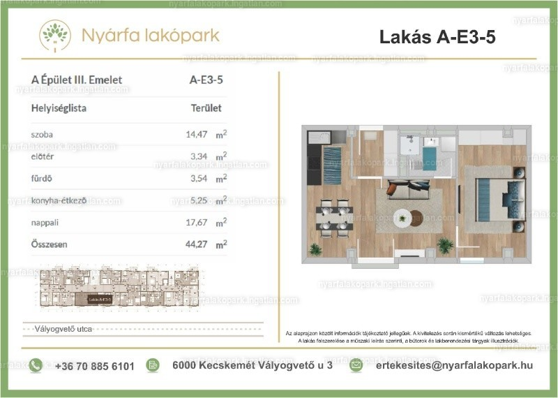 Nyárfa lakópark I. ütem - 2 szoba erkéllyel