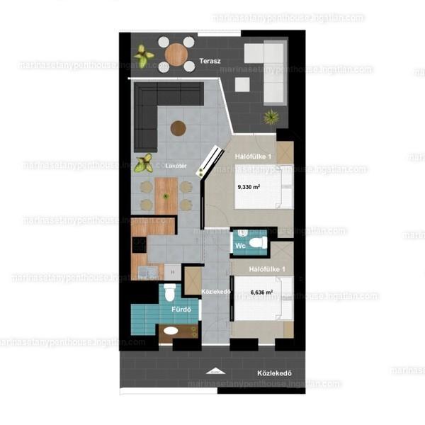 Marina Sétány Penthouse - 1 + 2 szoba erkéllyel