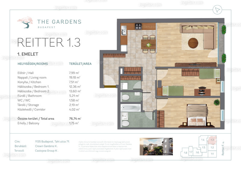 The Gardens Budapest - 3 szoba erkéllyel