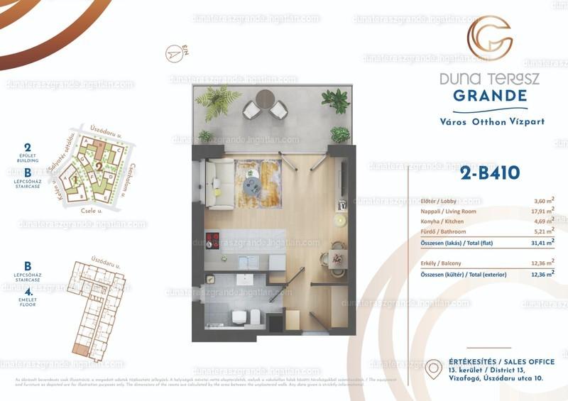 Duna Terasz Grande - 1 szoba erkéllyel