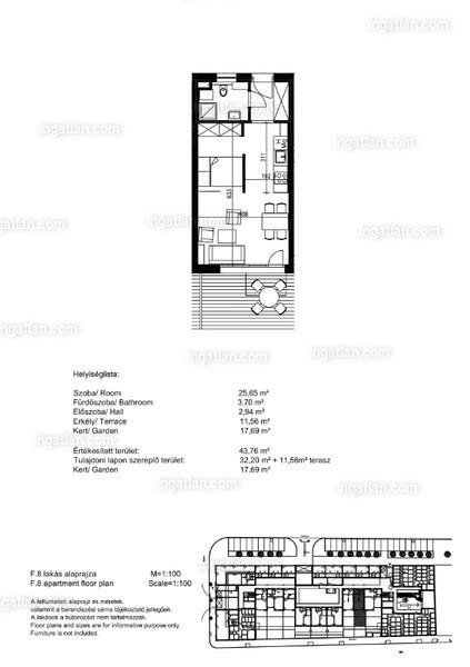 Orgonaliget Lakópark - 1 szoba kertkapcsolattal