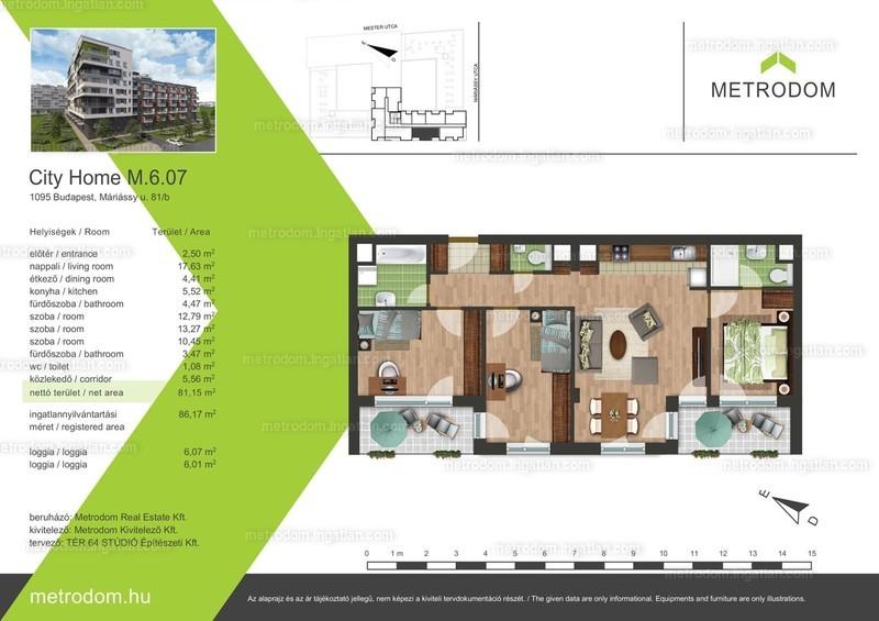 Metrodom City Home L-M - 3 + 1 szoba erkéllyel