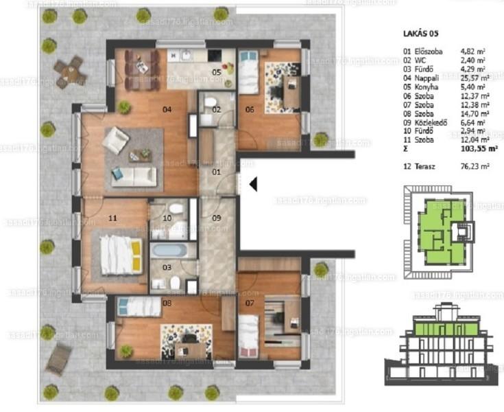 Sasadi176. - 5 szoba erkéllyel
