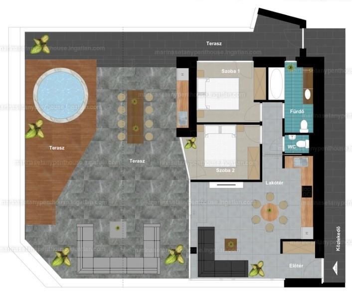 Marina Sétány Penthouse - 3 szoba erkéllyel