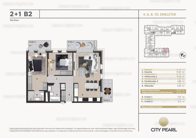 City Pearl Budapest - 3 szoba erkéllyel
