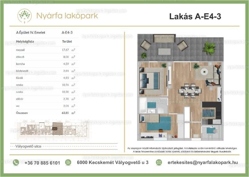 Nyárfa lakópark I. ütem - 3 szoba erkéllyel