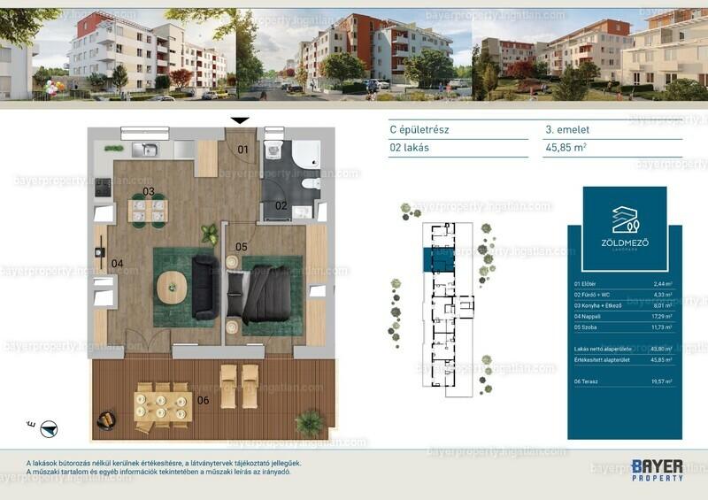 Zöldmező Lakópark - 2 szoba erkéllyel