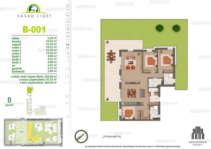Sasad Liget VI. ütem - 4 szoba kertkapcsolattal