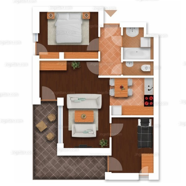 Somfa Liget VII. ütem - 1 + 2 szoba erkéllyel