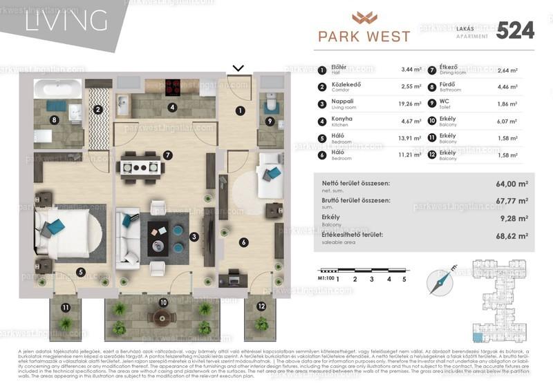 Park West - 1 + 2 szoba erkéllyel