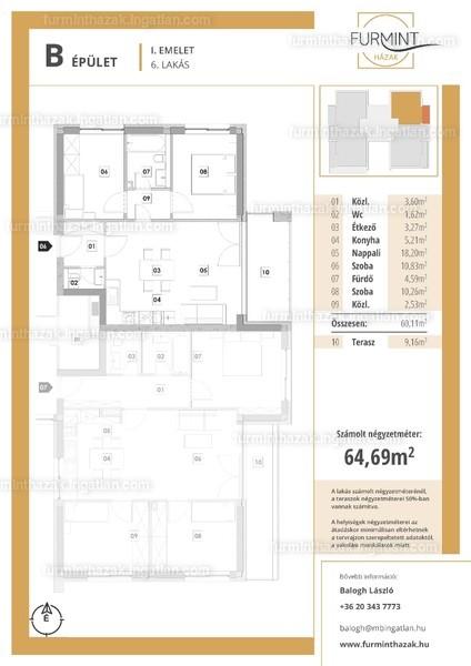 Furmintházak - 3 szoba erkéllyel