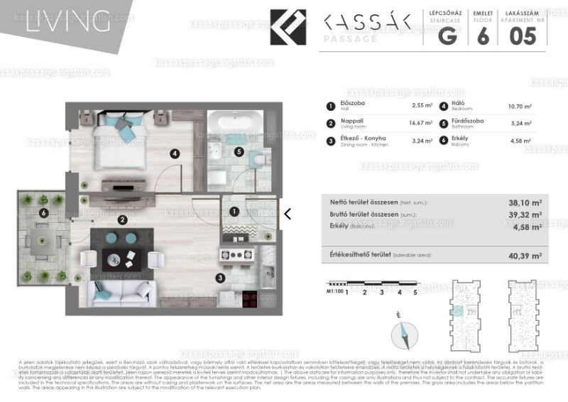 Kassák Passage - 1 + 1 szoba erkéllyel