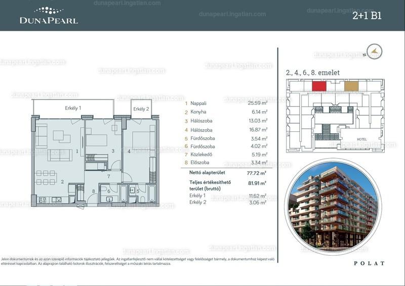 Duna Pearl - 3 szoba erkéllyel