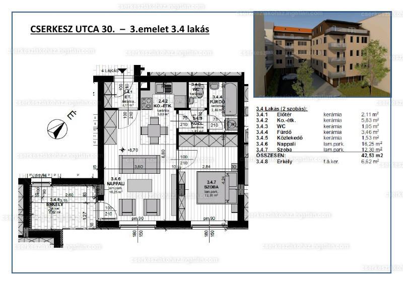 Cserkesz Lakóház - 2 szoba erkéllyel