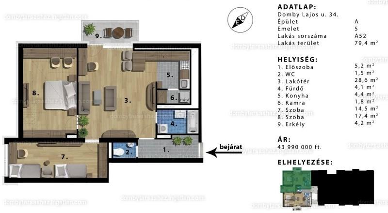 Domby Társasház - 3 szoba erkéllyel