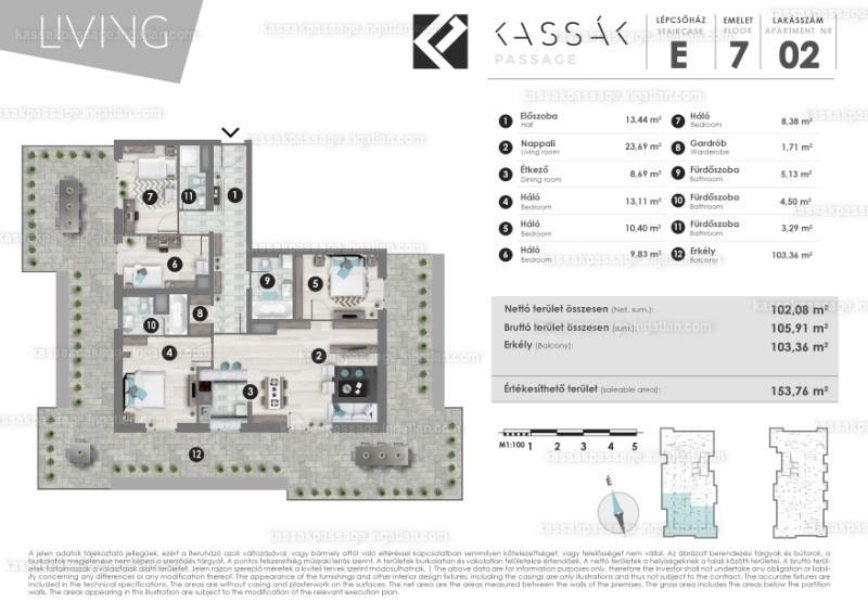 Kassák Passage - 2 + 3 szoba erkéllyel