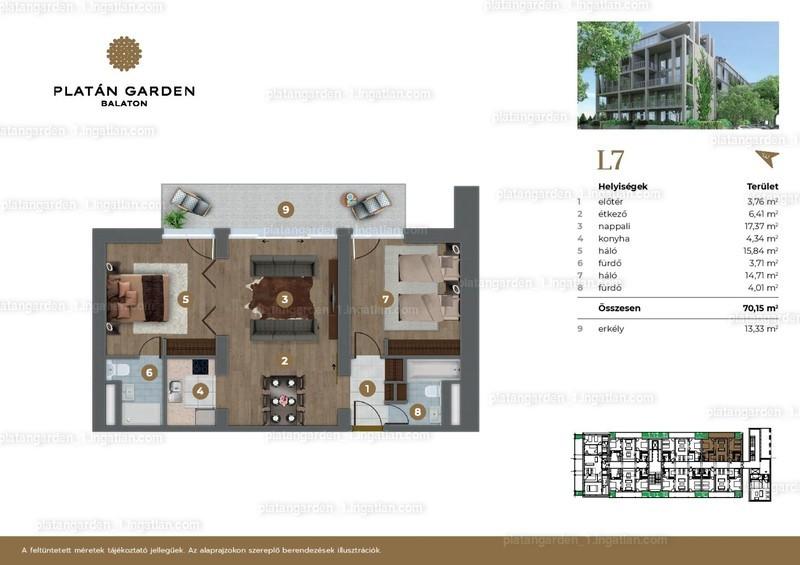Platán Garden Balaton - 3 szoba erkéllyel