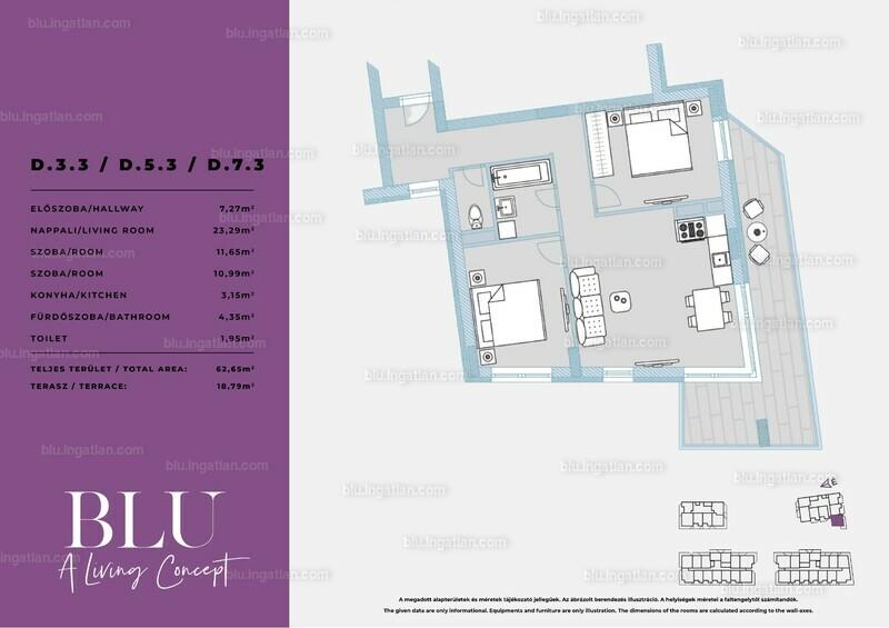BLU - 3 szoba erkéllyel