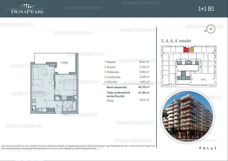 Duna Pearl - 2 szoba erkéllyel