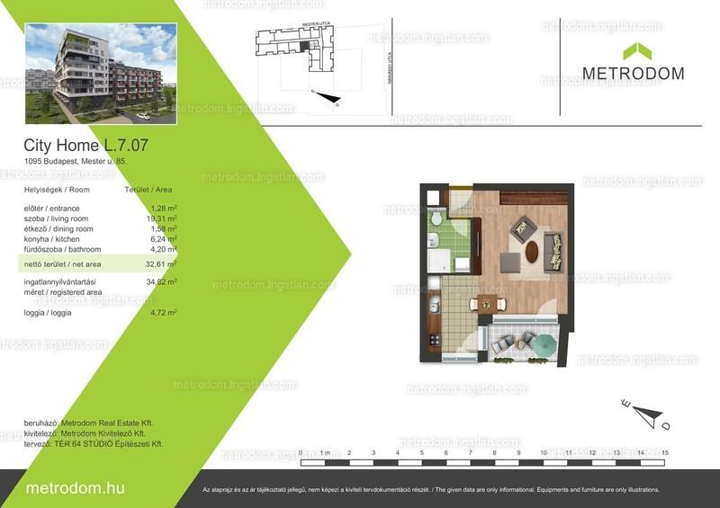 Metrodom City Home L-M - 1 szoba erkéllyel