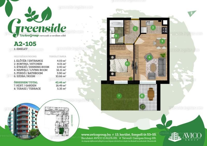 Greenside - 2 szoba kertkapcsolattal